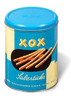 blaue Blechdose XOX
